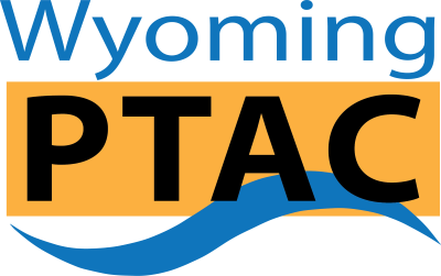The Wyoming PTAC Logo in blue, black and gold.